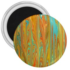 Beautiful Abstract in Orange, Aqua, Gold 3  Magnets