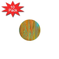 Beautiful Abstract In Orange, Aqua, Gold 1  Mini Buttons (10 Pack)