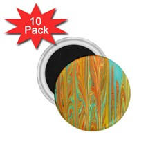 Beautiful Abstract in Orange, Aqua, Gold 1.75  Magnets (10 pack)