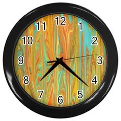 Beautiful Abstract in Orange, Aqua, Gold Wall Clocks (Black)