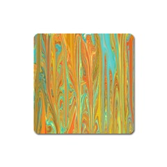 Beautiful Abstract In Orange, Aqua, Gold Square Magnet