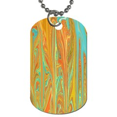 Beautiful Abstract In Orange, Aqua, Gold Dog Tag (two Sides)