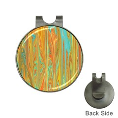 Beautiful Abstract In Orange, Aqua, Gold Hat Clips With Golf Markers