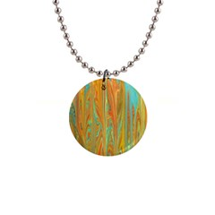 Beautiful Abstract In Orange, Aqua, Gold Button Necklaces