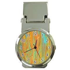 Beautiful Abstract In Orange, Aqua, Gold Money Clip Watches
