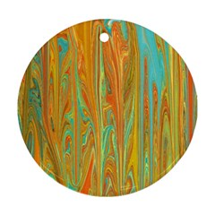 Beautiful Abstract in Orange, Aqua, Gold Round Ornament (Two Sides)