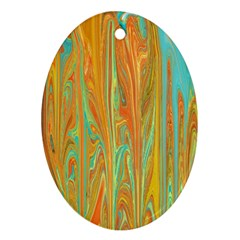 Beautiful Abstract In Orange, Aqua, Gold Oval Ornament (two Sides)