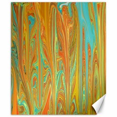 Beautiful Abstract In Orange, Aqua, Gold Canvas 8  X 10