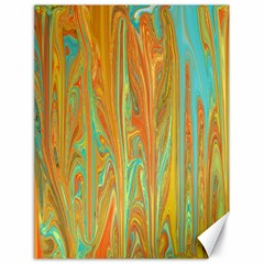 Beautiful Abstract in Orange, Aqua, Gold Canvas 18  x 24