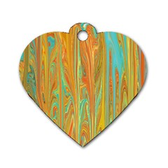 Beautiful Abstract in Orange, Aqua, Gold Dog Tag Heart (Two Sides)