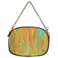 Beautiful Abstract in Orange, Aqua, Gold Chain Purses (Two Sides)
