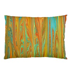 Beautiful Abstract In Orange, Aqua, Gold Pillow Case