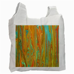 Beautiful Abstract in Orange, Aqua, Gold Recycle Bag (One Side)
