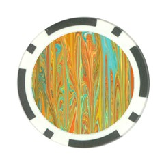 Beautiful Abstract In Orange, Aqua, Gold Poker Chip Card Guards (10 Pack)