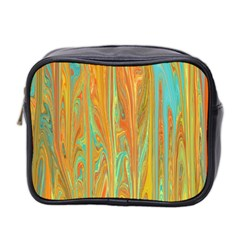 Beautiful Abstract In Orange, Aqua, Gold Mini Toiletries Bag 2 Side