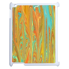 Beautiful Abstract in Orange, Aqua, Gold Apple iPad 2 Case (White)