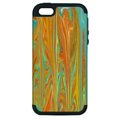 Beautiful Abstract in Orange, Aqua, Gold Apple iPhone 5 Hardshell Case (PC+Silicone)