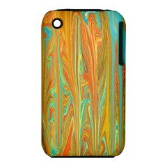 Beautiful Abstract in Orange, Aqua, Gold Apple iPhone 3G/3GS Hardshell Case (PC+Silicone)