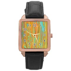 Beautiful Abstract in Orange, Aqua, Gold Rose Gold Leather Watch