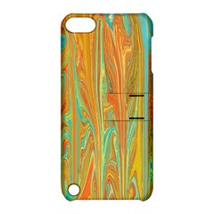 Beautiful Abstract In Orange, Aqua, Gold Apple Ipod Touch 5 Hardshell Case With Stand