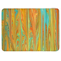 Beautiful Abstract In Orange, Aqua, Gold Samsung Galaxy Tab 7  P1000 Flip Case