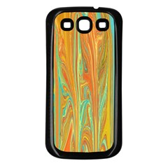 Beautiful Abstract In Orange, Aqua, Gold Samsung Galaxy S3 Back Case (black)