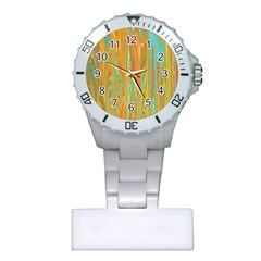 Beautiful Abstract In Orange, Aqua, Gold Plastic Nurses Watch