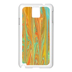 Beautiful Abstract in Orange, Aqua, Gold Samsung Galaxy Note 3 N9005 Case (White)