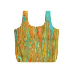 Beautiful Abstract in Orange, Aqua, Gold Full Print Recycle Bags (S)