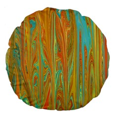 Beautiful Abstract in Orange, Aqua, Gold Large 18  Premium Flano Round Cushions