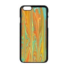 Beautiful Abstract In Orange, Aqua, Gold Apple Iphone 6/6s Black Enamel Case