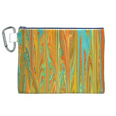 Beautiful Abstract In Orange, Aqua, Gold Canvas Cosmetic Bag (xl)