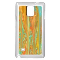 Beautiful Abstract in Orange, Aqua, Gold Samsung Galaxy Note 4 Case (White)