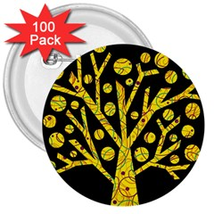 Yellow magical tree 3  Buttons (100 pack)