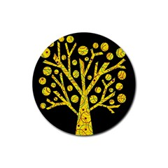 Yellow magical tree Rubber Coaster (Round)