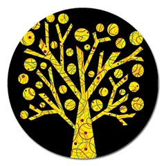Yellow magical tree Magnet 5  (Round)