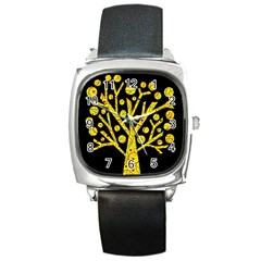 Yellow magical tree Square Metal Watch