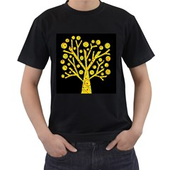 Yellow magical tree Men s T-Shirt (Black) (Two Sided)