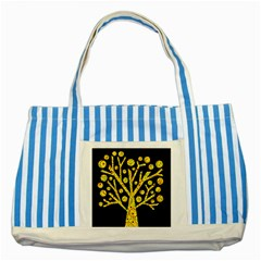 Yellow magical tree Striped Blue Tote Bag