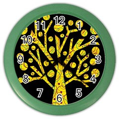 Yellow magical tree Color Wall Clocks