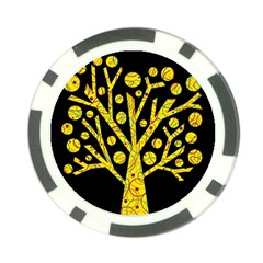 Yellow magical tree Poker Chip Card Guards
