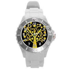 Yellow magical tree Round Plastic Sport Watch (L)