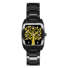 Yellow magical tree Stainless Steel Barrel Watch