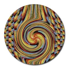 Gold Blue and Red Swirl Pattern Round Mousepads