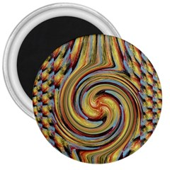 Gold Blue and Red Swirl Pattern 3  Magnets