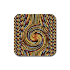 Gold Blue And Red Swirl Pattern Rubber Square Coaster (4 Pack)