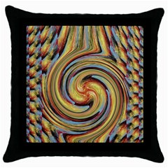 Gold Blue and Red Swirl Pattern Throw Pillow Case (Black)