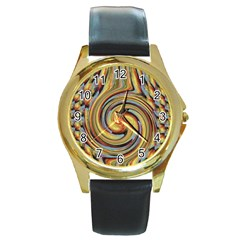 Gold Blue and Red Swirl Pattern Round Gold Metal Watch