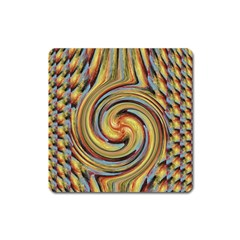 Gold Blue And Red Swirl Pattern Square Magnet