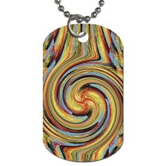 Gold Blue and Red Swirl Pattern Dog Tag (One Side)